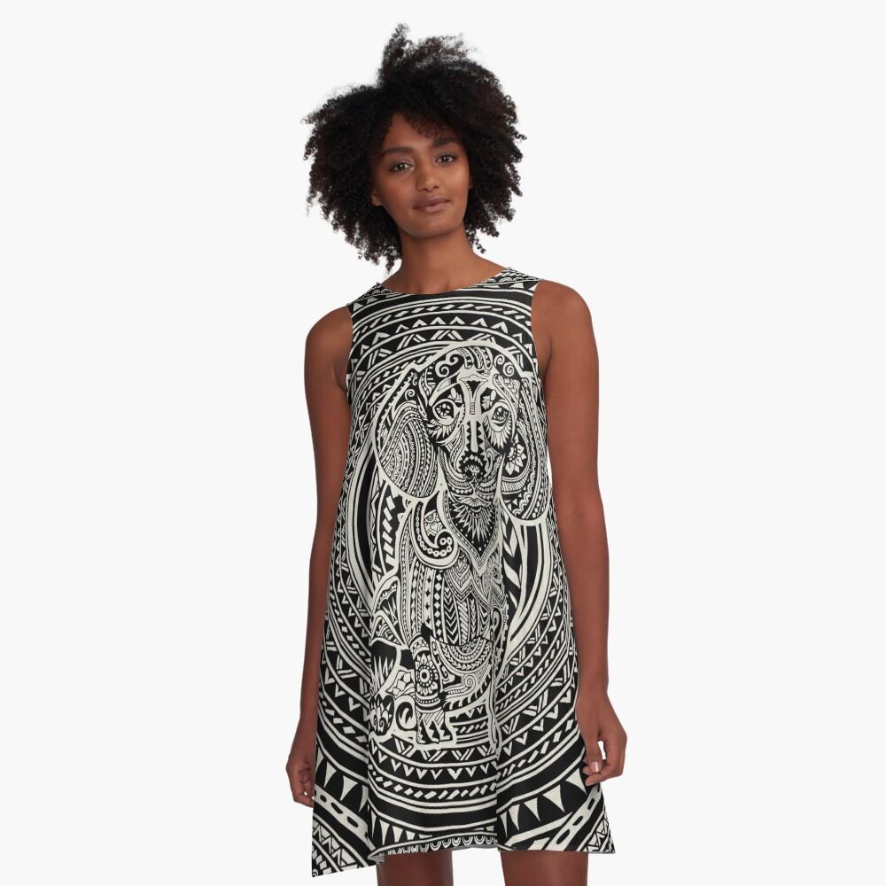 Polynesian Dachshund A-Line Dress