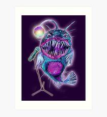 Angler Fish Disco Glitterball Baby Art Print