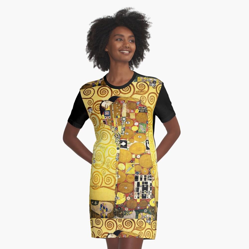 Gustav Klimt The Embrace Graphic T-Shirt Dress