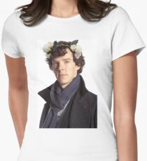 Sherlock Floral Crown Womens Fitted T-Shirt