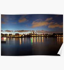 Night View of Canary Wharf from Greenwich pier Poster