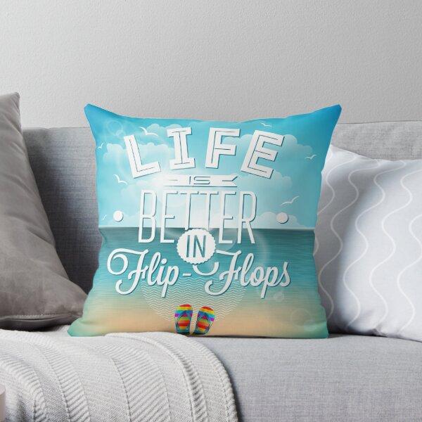 Life is Better in Flip Flops Beach Scene Throw Pillow