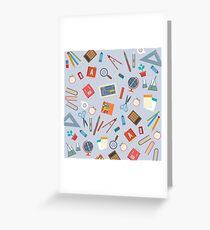Floating Education Objects Greeting Card