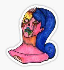 Zombie Gal Brain Decay Sticker