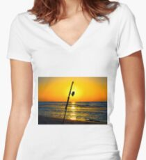 A fishing rod on the shore at sunset  Women's Fitted V-Neck T-Shirt