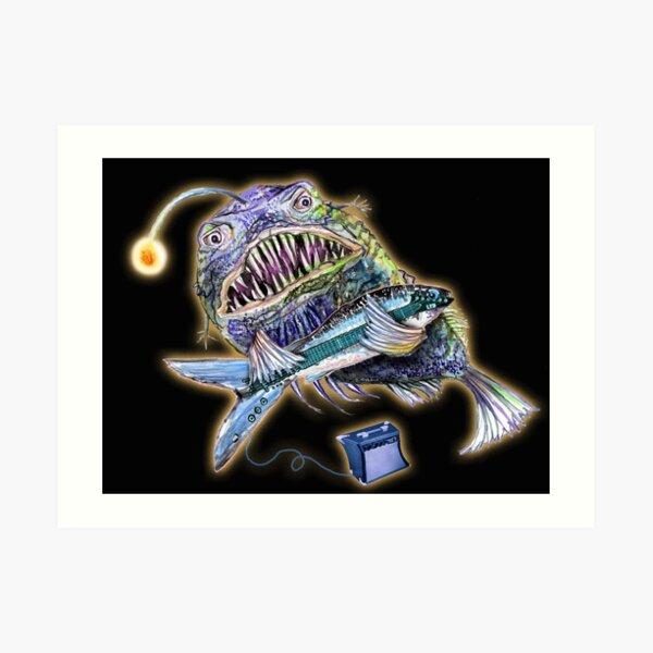 Angler Fish Plays Fish Guitar Art Print
