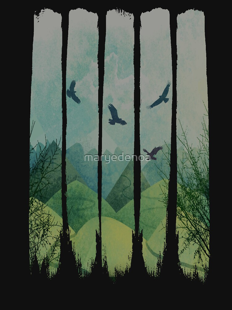 Eagles, Mountains, Grunge Landscape by maryedenoa