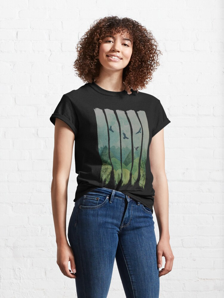 Alternate view of Eagles, Mountains, Grunge Landscape Classic T-Shirt