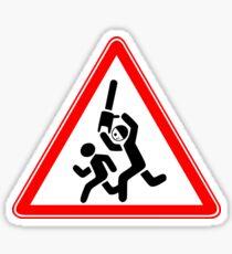 Caution Chainsaw Killer Road Sign Sticker