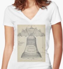 Fontainbleau Plantation Bell - Thomas Byrne - Vintage Architecture Women's Fitted V-Neck T-Shirt