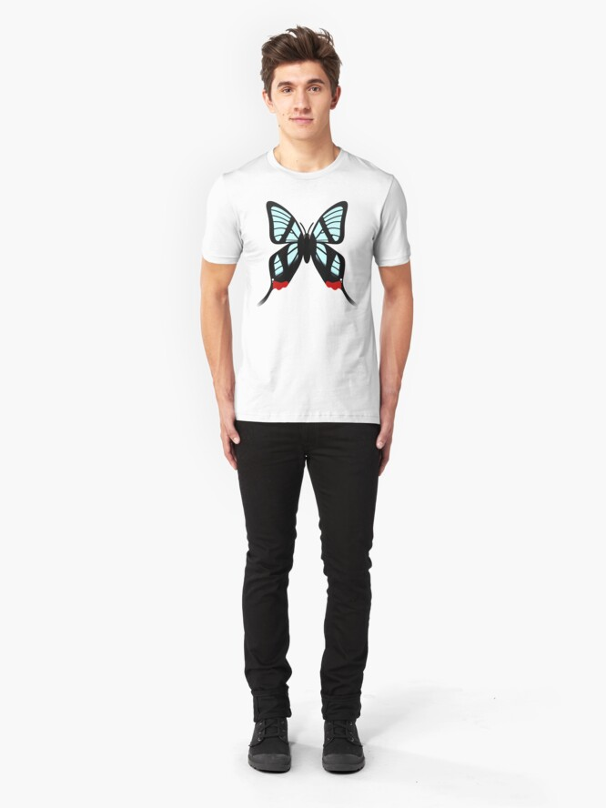 Alternate view of  Glasswing Swallowtail Butterfly Slim Fit T-Shirt