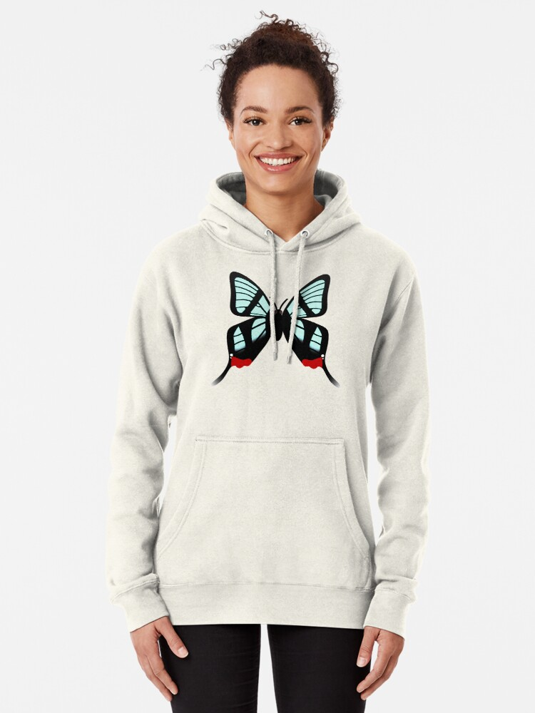 Alternate view of  Glasswing Swallowtail Butterfly Pullover Hoodie