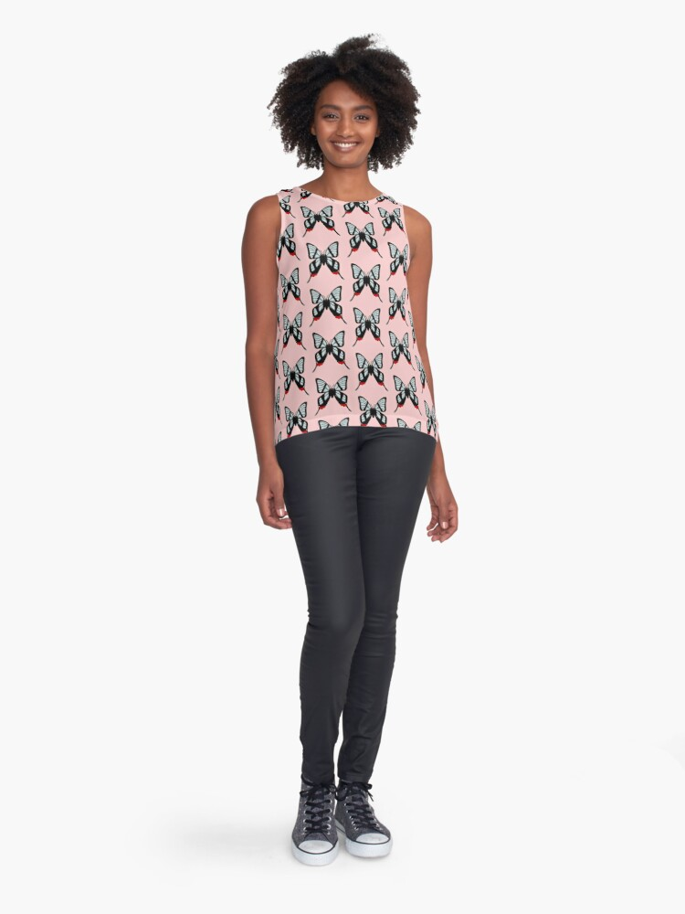 Alternate view of  Glasswing Swallowtail Butterfly Sleeveless Top