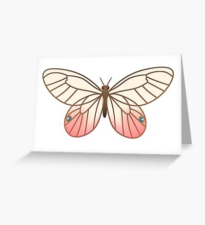 Pink Glasswing Butterfly Greeting Card