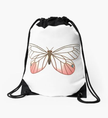 Pink Glasswing Butterfly Drawstring Bag