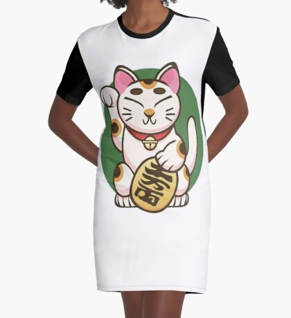 Lucky Kitty Graphic T-Shirt Dress