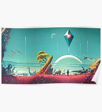 No Mans Sky - Schiff und Himmel Poster