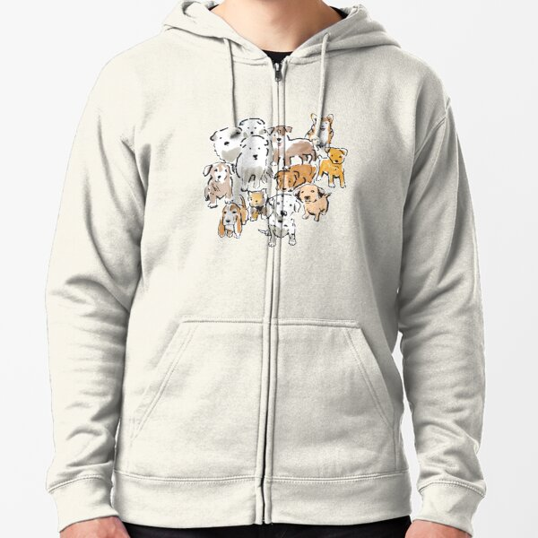 Cute Puppy Dogs in Watercolor with Corgi, Dalmatian and Basset Hound Zipped Hoodie