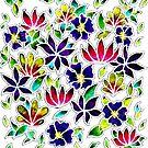 Flower Pattern on White Background by CarolineLembke