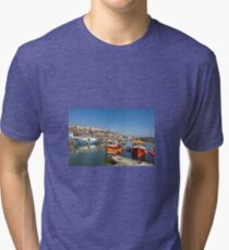Mevagissey Harbour, West Cornwall, UK Tri-blend T-Shirt