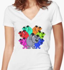 trippy mutts alliance Women's Fitted V-Neck T-Shirt