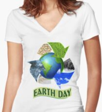 Earth Day 1 Women's Fitted V-Neck T-Shirt