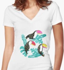 Watercolor toucan and leaves Women's Fitted V-Neck T-Shirt