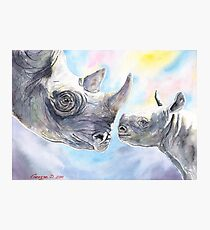 Rhinos family with baby watercolor art Photographic Print