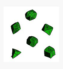 Green RPG Dice Photographic Print