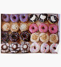 Sugar coated colorful doughnuts  Poster