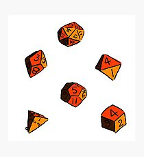 Orange RPG Dice Photographic Print