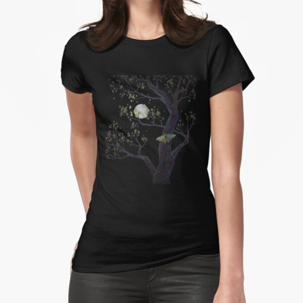 Spanish moon moth and moonlit tree Fitted T-Shirt