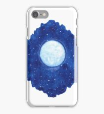 Watercolor shining moon with stars iPhone Case/Skin