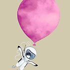 Penguin fly Pink Balloon by Ruta Dumalakaite
