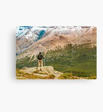 Man at Top of Andes Mountains, Patagonia - Argentina Canvas Print