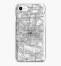 psychedelic drawing and sketching abstract pattern in black and white iPhone Case/Skin