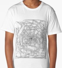 psychedelic drawing and sketching abstract pattern in black and white Long T-Shirt