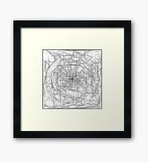 psychedelic drawing and sketching abstract pattern in black and white Framed Print