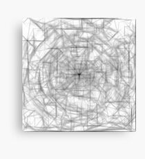 psychedelic drawing and sketching abstract pattern in black and white Canvas Print