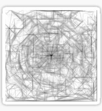 psychedelic drawing and sketching abstract pattern in black and white Sticker