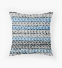 Blues and Greys Crochet Stripes Throw Pillow