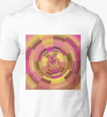geometric polygon abstract pattern in pink and yellow Unisex T-Shirt