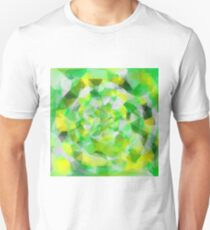 geometric polygon abstract pattern in green and yellow Unisex T-Shirt