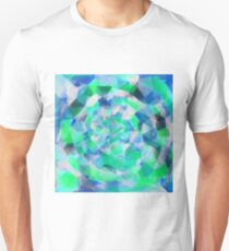 geometric polygon abstract pattern in blue and green Unisex T-Shirt