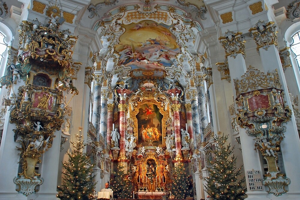 Christmas Day in Wieskirche - Germany by Arie Koene