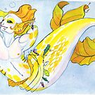 MerMay Yellow Snapper Pin Up Merman Watercolor by SimplyKitt