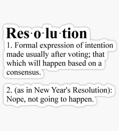 Definition: New Year's Resolution Sticker
