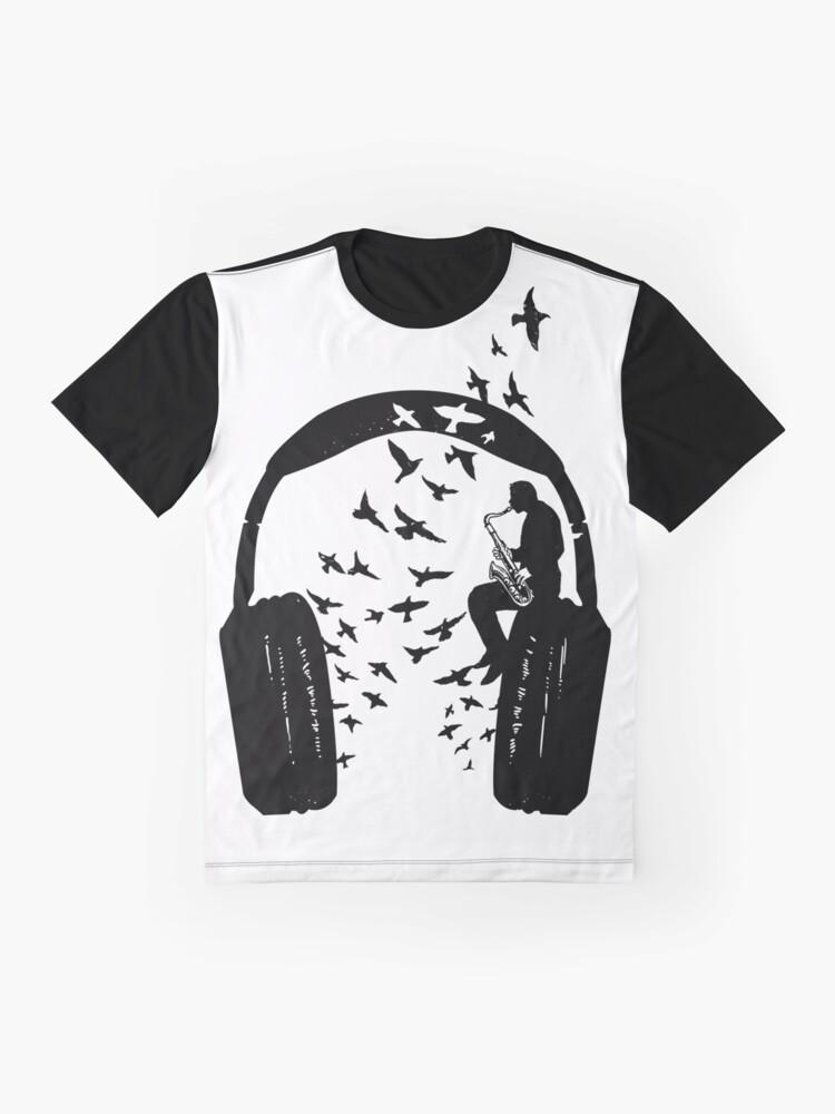 Alternate view of Headphone - Saxophone Graphic T-Shirt