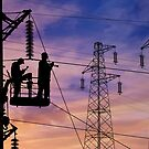 Power Lines Technicians At Work. by Alex Preiss