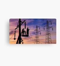 Power Lines Technicians At Work. Canvas Print